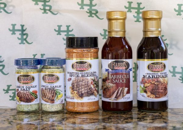 Display of Harris Ranch Spices and Sauces