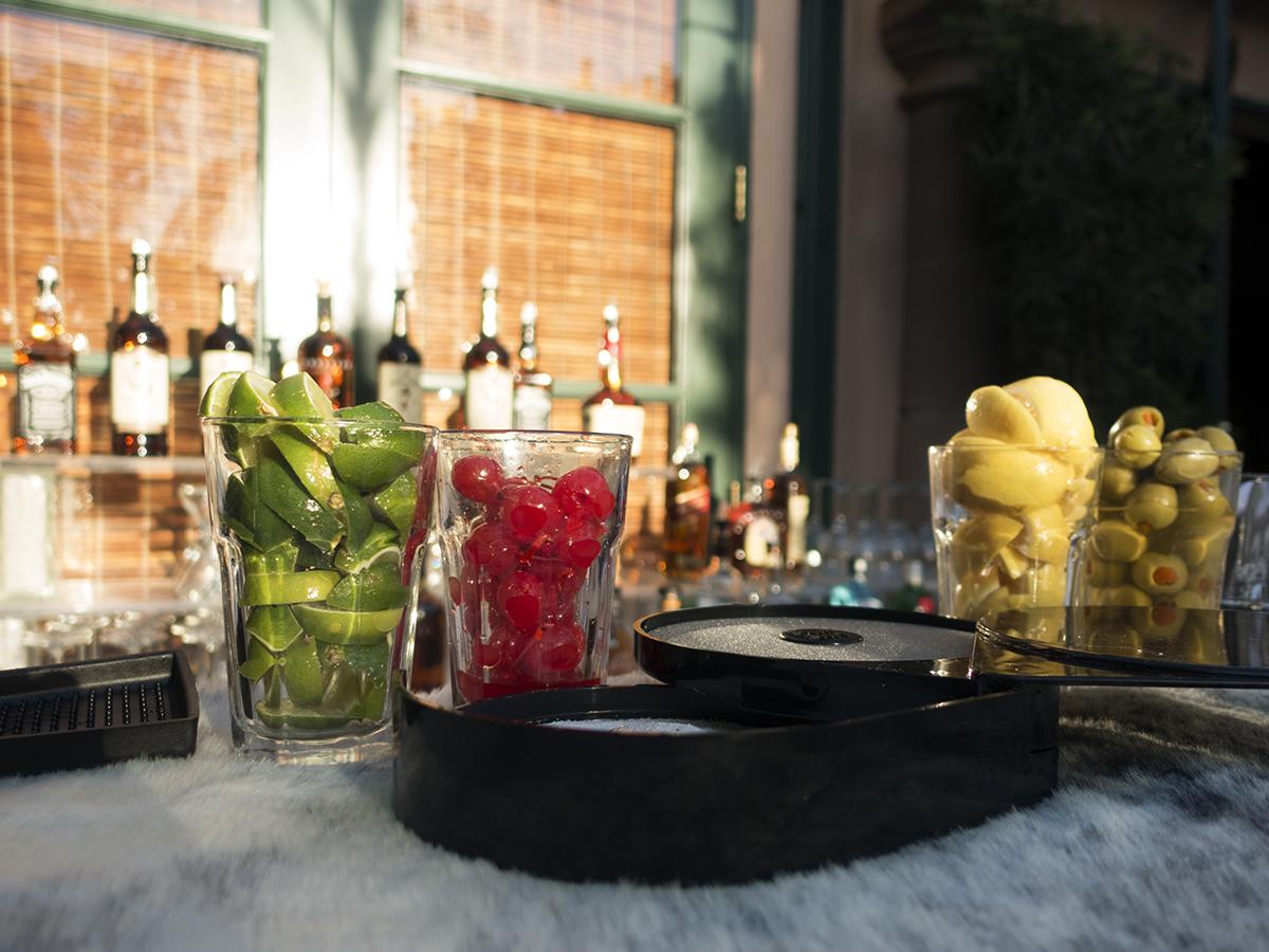 Bar garnishes: limes, cherries, lemons, olives