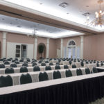 Ballroom set up with classroom seating for large meeting