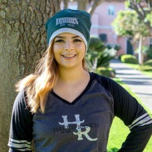 Model wearing Harris Ranch Beanie