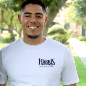Model wearing Harris Ranch Beef Cuts T-Shirt