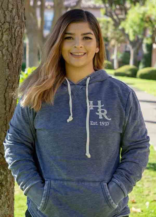 Model wearing Harris Ranch Hoodie Pullover