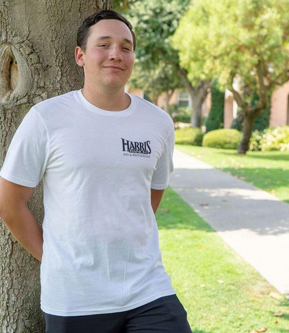 Model wearing Harris Ranch T-Shirt