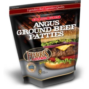 Package of 81% lean Harris Ranch Angus Ground Beef Patties
