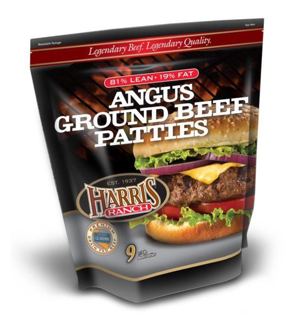 Package of 81% lean Harris Ranch Angus Ground Beef Patties