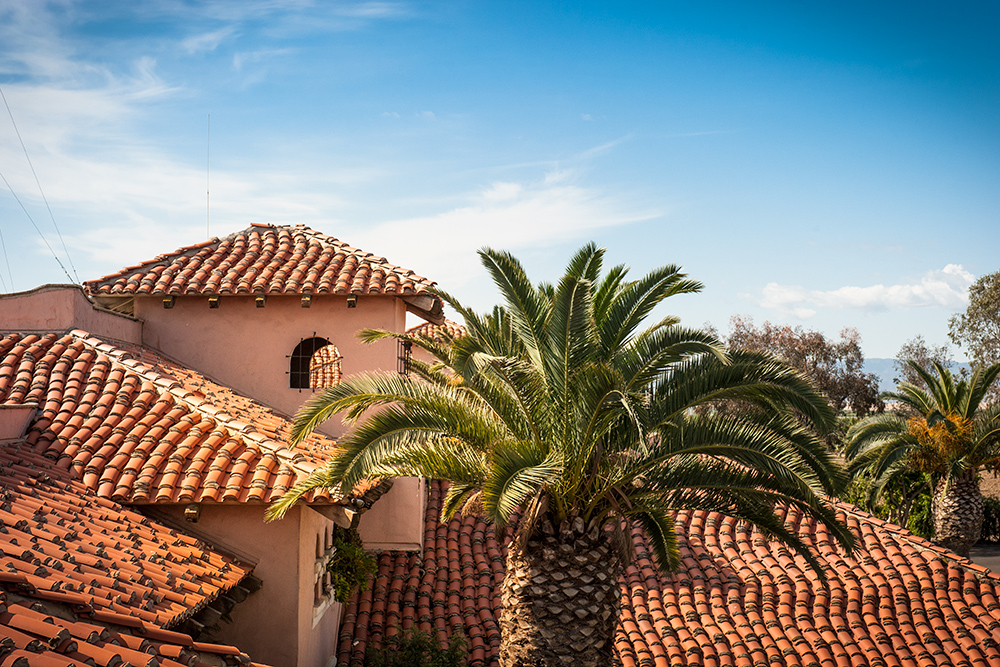 Tiled roofline of hacienda-style architecture at Harris Ranch Inn