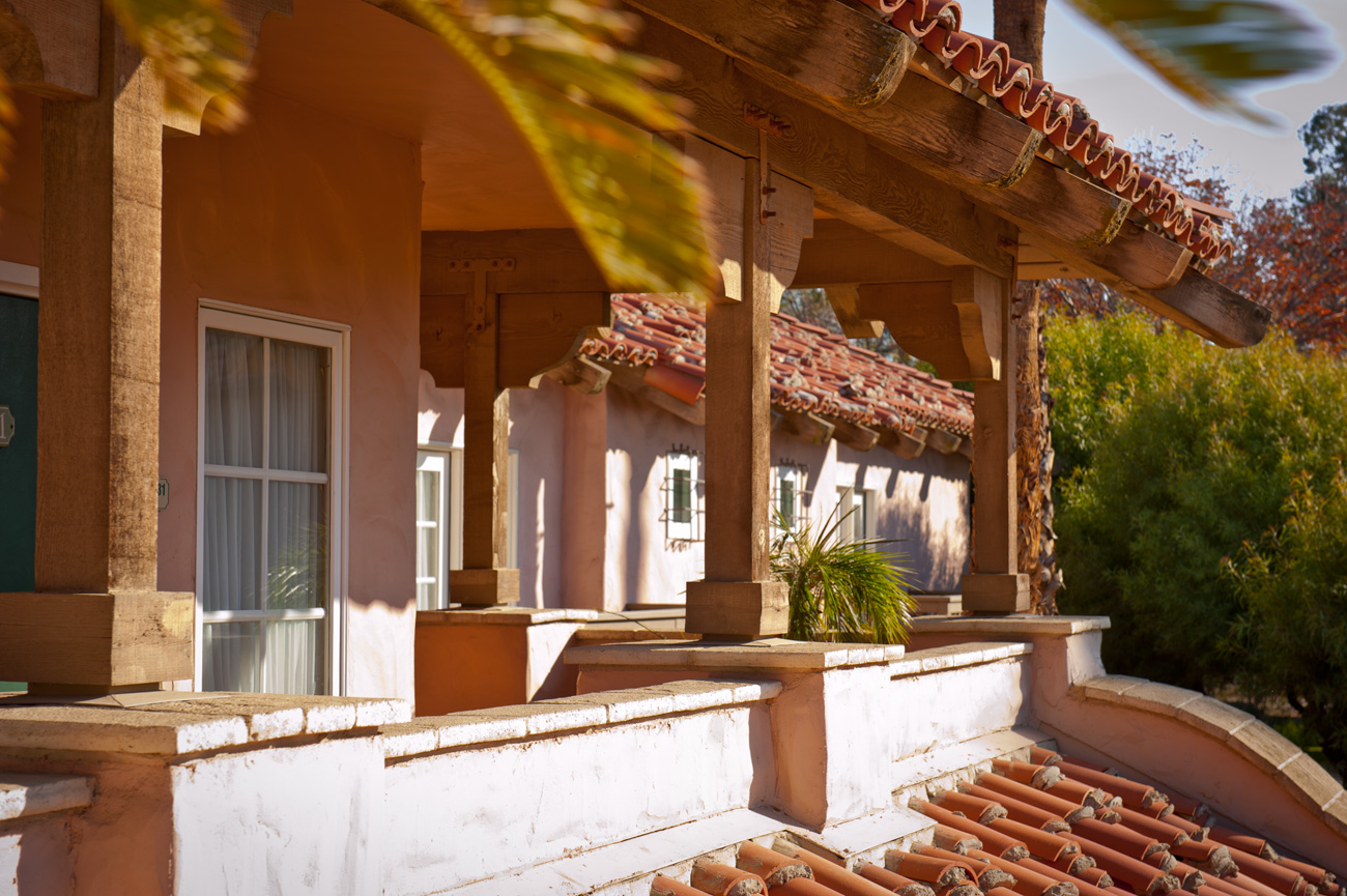 Hacienda-style balconies at Harris Ranch Inn