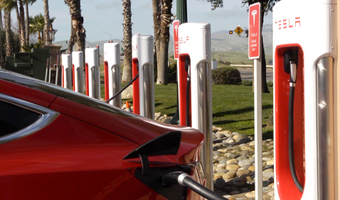 Tesla charging station at Harris Ranch