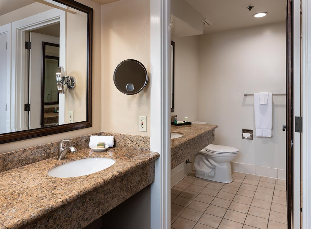 Bathroom in a guest room at the Inn with separate toilet room