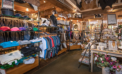 Apparel and gift items displayed in the Country Store