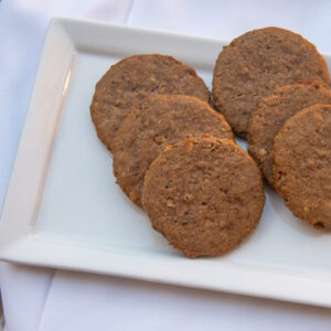Plate of six Pecan Drop cookies