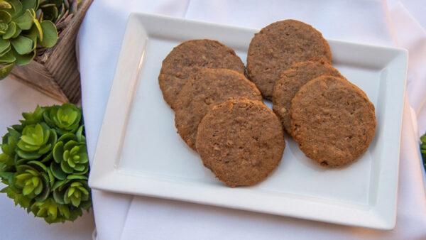 Plate of six Pecan Drop cookies