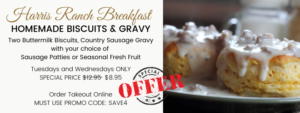 Special Breakfast Offer on Homemade Biscuits and Gravy